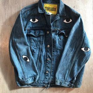 Jackets & Blazers - Vintage Acid Wash Painted Denim Jacket M L XL